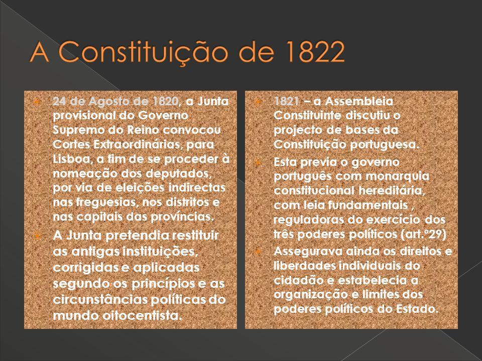 24 de Agosto de 1820, a Junta provisional do Governo Supremo do Reino convocou Cortes Extraordinárias, para Lisboa, a fim de se proceder à nomeação do