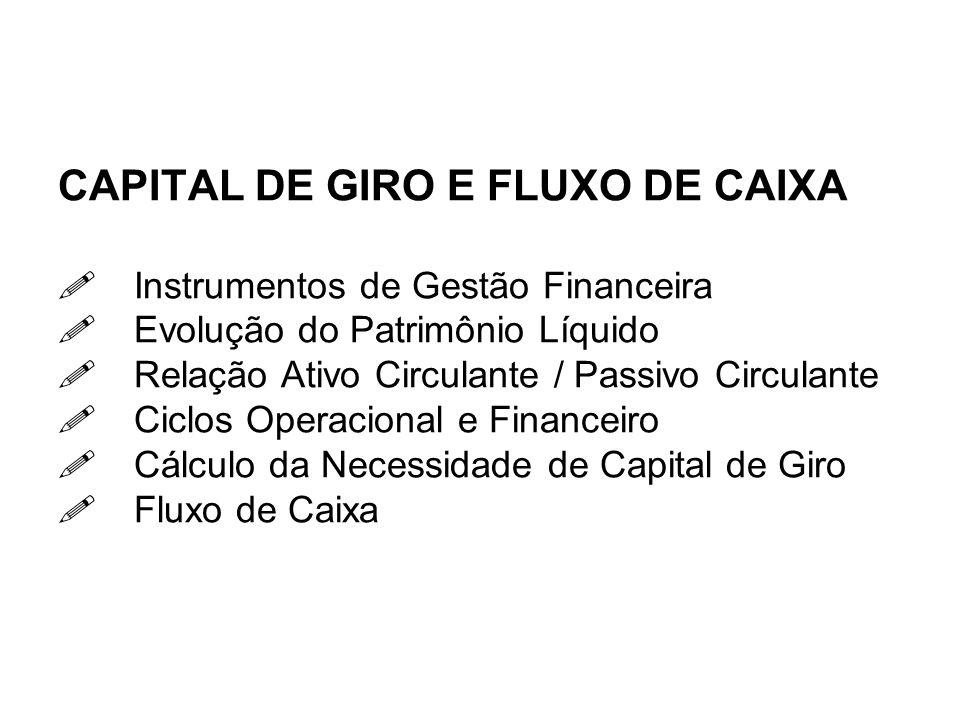 CAPITAL DE GIRO E FLUXO DE CAIXA Instrumentos de Gestão Financeira Evolução do Patrimônio Líquido Relação Ativo Circulante / Passivo Circulante Ciclos