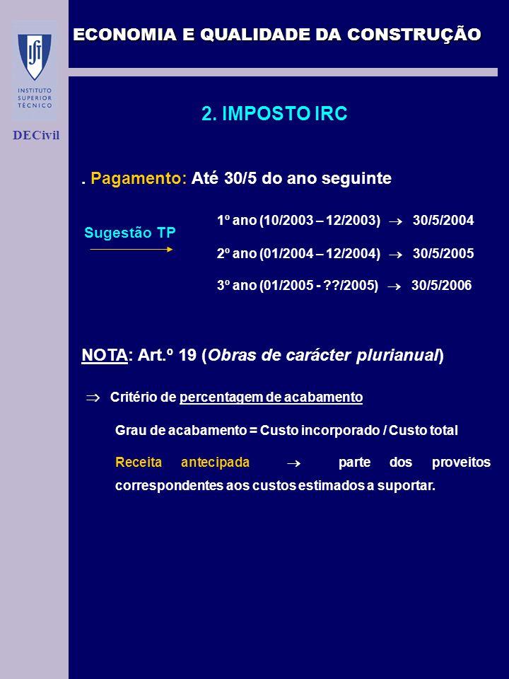 ECONOMIA E QUALIDADE DA CONSTRUÇÃO DECivil 2. IMPOSTO IRC. Pagamento: Até 30/5 do ano seguinte 1º ano (10/2003 – 12/2003) 30/5/2004 2º ano (01/2004 –