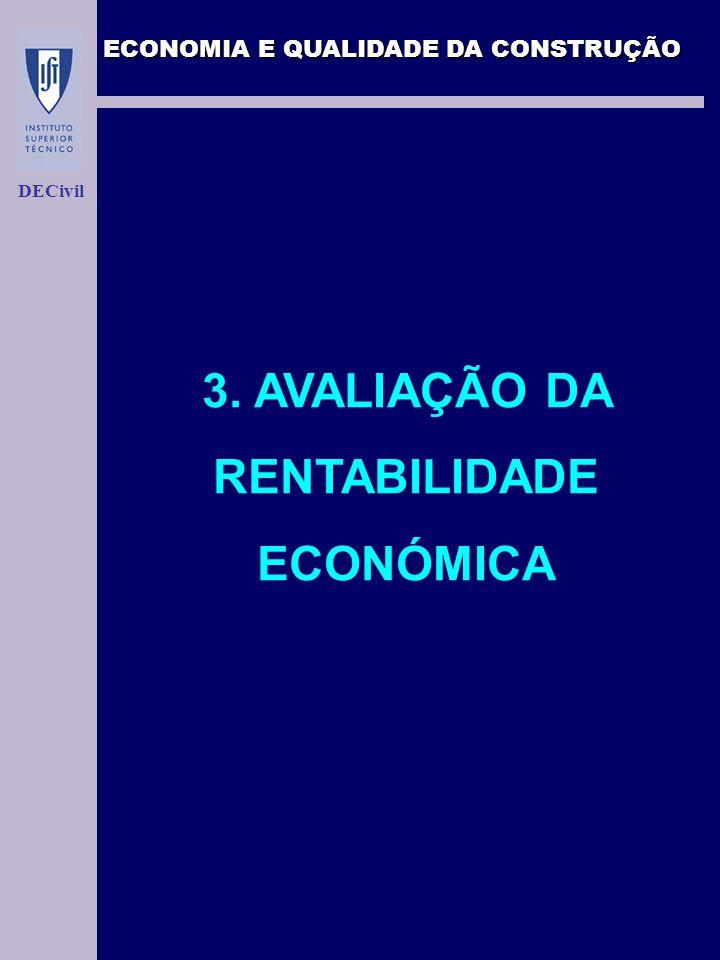 ECONOMIA E QUALIDADE DA CONSTRUÇÃO DECivil 3. AVALIAÇÃO DA RENTABILIDADE ECONÓMICA