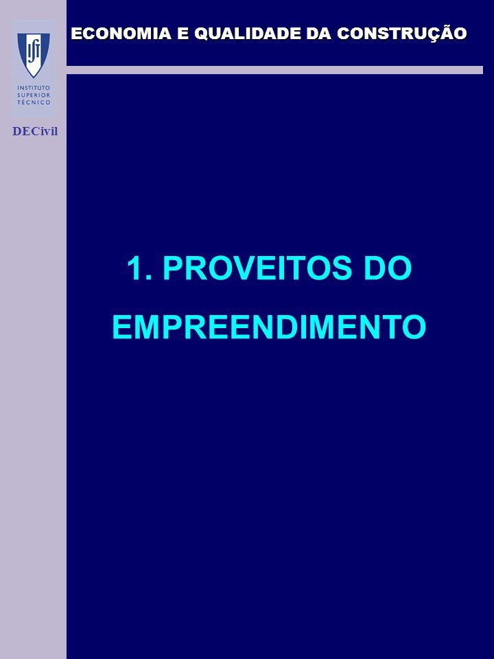 ECONOMIA E QUALIDADE DA CONSTRUÇÃO DECivil 1. PROVEITOS DO EMPREENDIMENTO