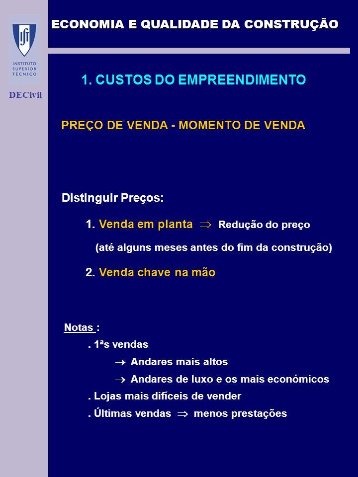 ECONOMIA E QUALIDADE DA CONSTRUÇÃO DECivil 1. CUSTOS DO EMPREENDIMENTO PREÇO DE VENDA - MOMENTO DE VENDA Distinguir Preços: 1. Venda em planta Redução