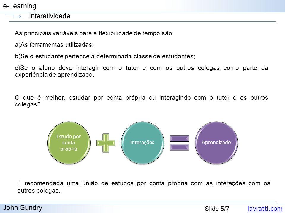 lavratti.com Slide 5/7 e-Learning Interatividade John Gundry As principais variáveis para a flexibilidade de tempo são: a)As ferramentas utilizadas; b