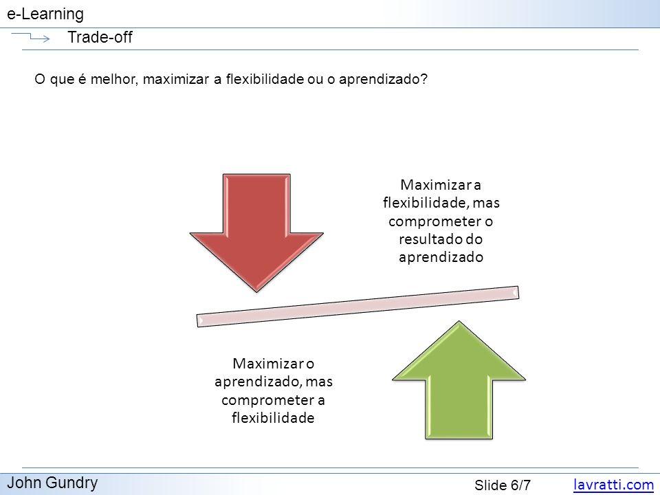 lavratti.com Slide 6/7 e-Learning Trade-off John Gundry O que é melhor, maximizar a flexibilidade ou o aprendizado? Maximizar a flexibilidade, mas com