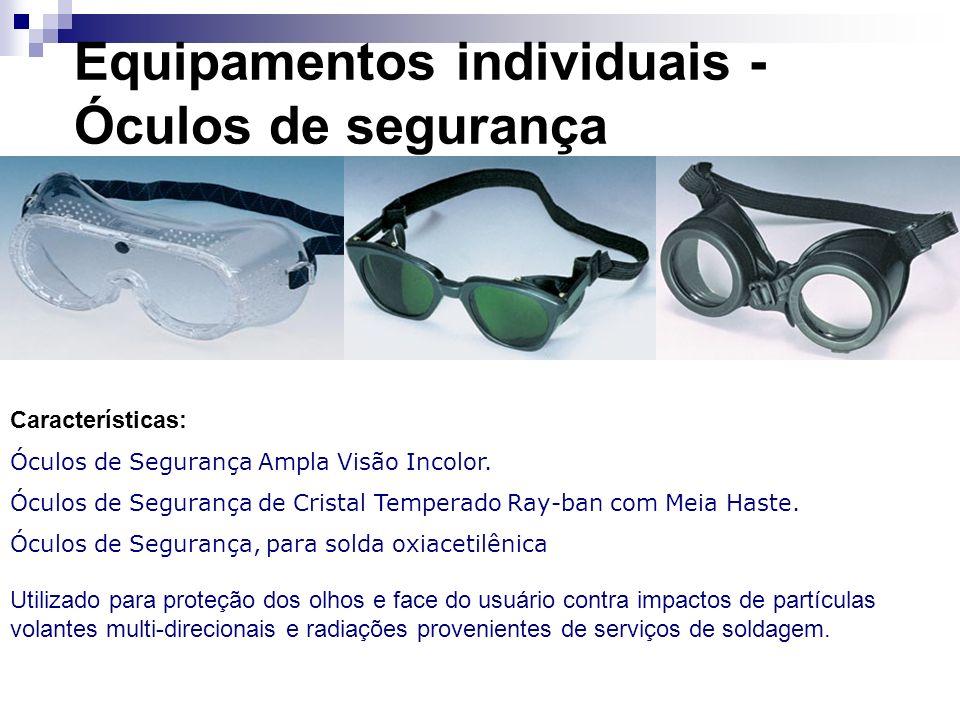 Equipamentos individuais - Óculos de segurança Características: Óculos de Segurança Ampla Visão Incolor. Óculos de Segurança de Cristal Temperado Ray-