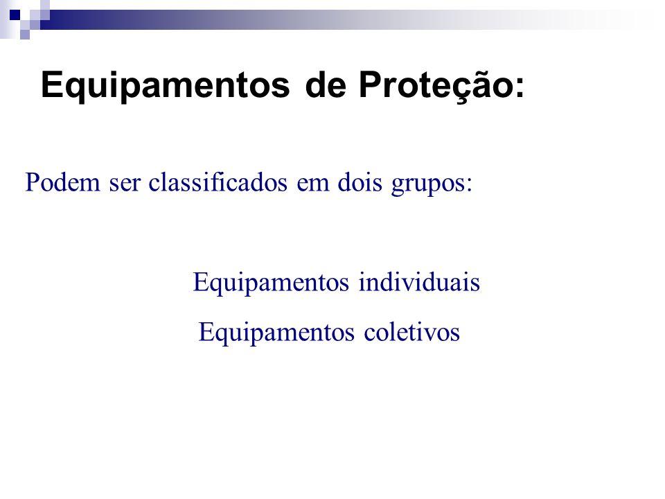 Equipamentos de Proteção: Podem ser classificados em dois grupos: Equipamentos individuais Equipamentos coletivos
