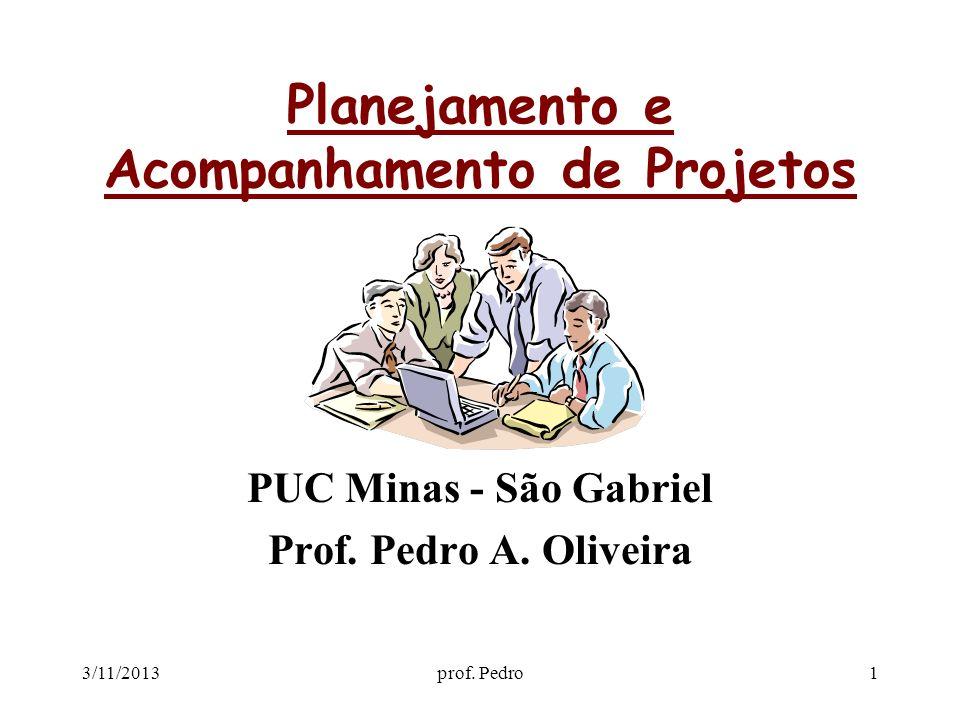 3/11/2013prof. Pedro1 Planejamento e Acompanhamento de Projetos PUC Minas - São Gabriel Prof. Pedro A. Oliveira