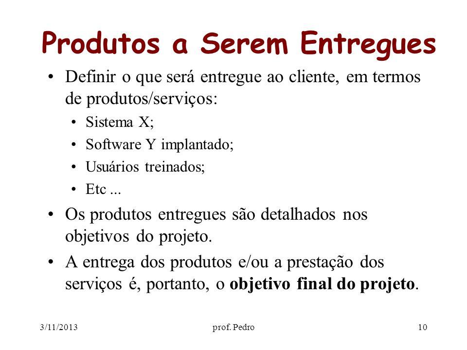 3/11/2013prof. Pedro10 Produtos a Serem Entregues Definir o que será entregue ao cliente, em termos de produtos/serviços: Sistema X; Software Y implan