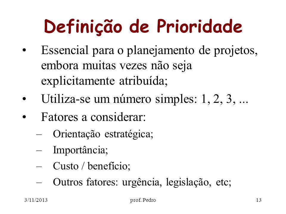 3/11/2013prof. Pedro13 Definição de Prioridade Essencial para o planejamento de projetos, embora muitas vezes não seja explicitamente atribuída; Utili