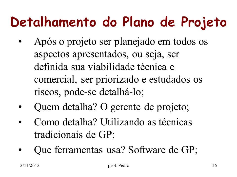 3/11/2013prof. Pedro16 Detalhamento do Plano de Projeto Após o projeto ser planejado em todos os aspectos apresentados, ou seja, ser definida sua viab