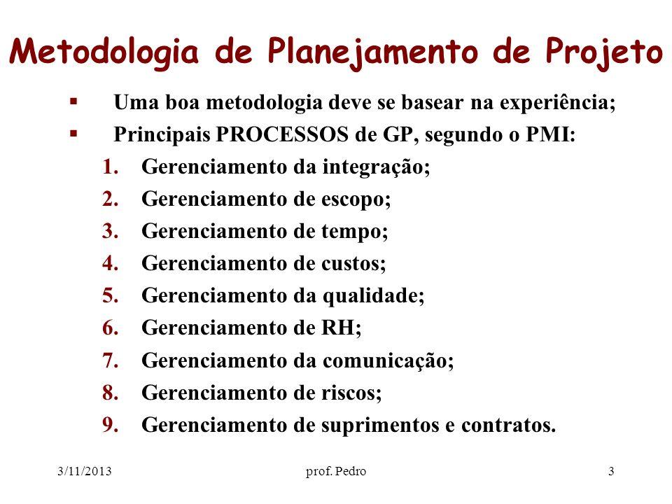 3/11/2013prof. Pedro3 Metodologia de Planejamento de Projeto Uma boa metodologia deve se basear na experiência; Principais PROCESSOS de GP, segundo o