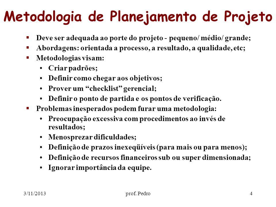 3/11/2013prof. Pedro4 Metodologia de Planejamento de Projeto Deve ser adequada ao porte do projeto - pequeno/ médio/ grande; Abordagens: orientada a p