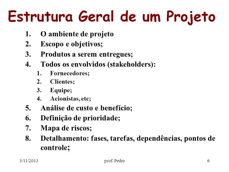 3/11/2013prof. Pedro6 Estrutura Geral de um Projeto 1.O ambiente de projeto 2.Escopo e objetivos; 3.Produtos a serem entregues; 4.Todos os envolvidos