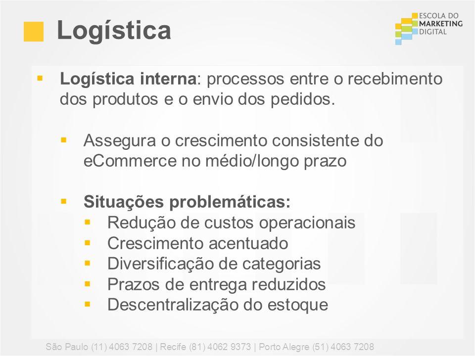 Logística interna: processos entre o recebimento dos produtos e o envio dos pedidos. Assegura o crescimento consistente do eCommerce no médio/longo pr