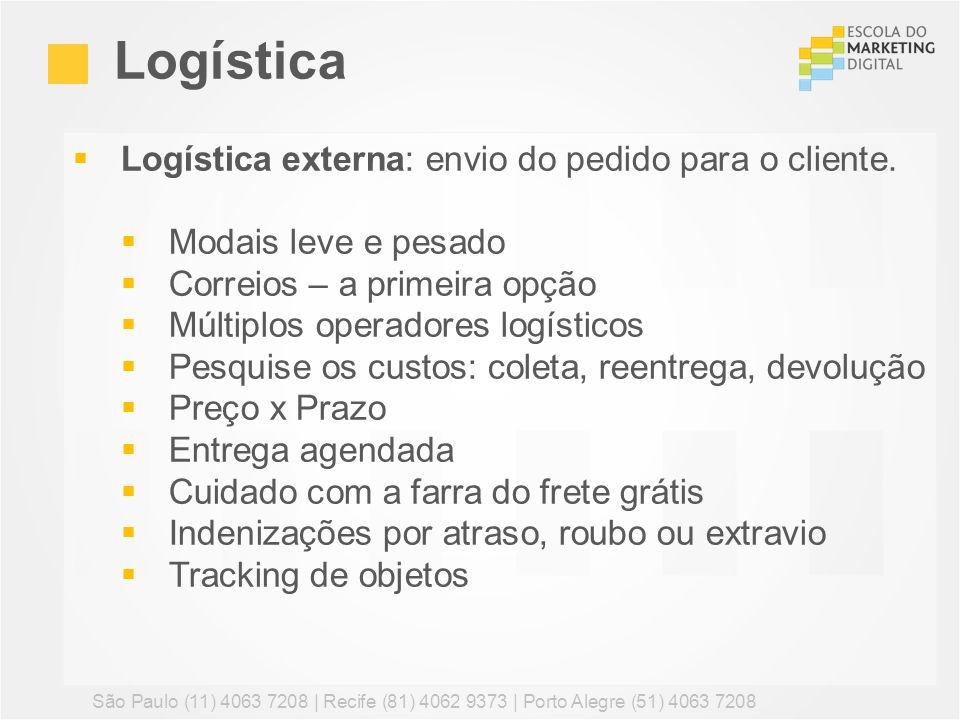 Logística externa: envio do pedido para o cliente. Modais leve e pesado Correios – a primeira opção Múltiplos operadores logísticos Pesquise os custos