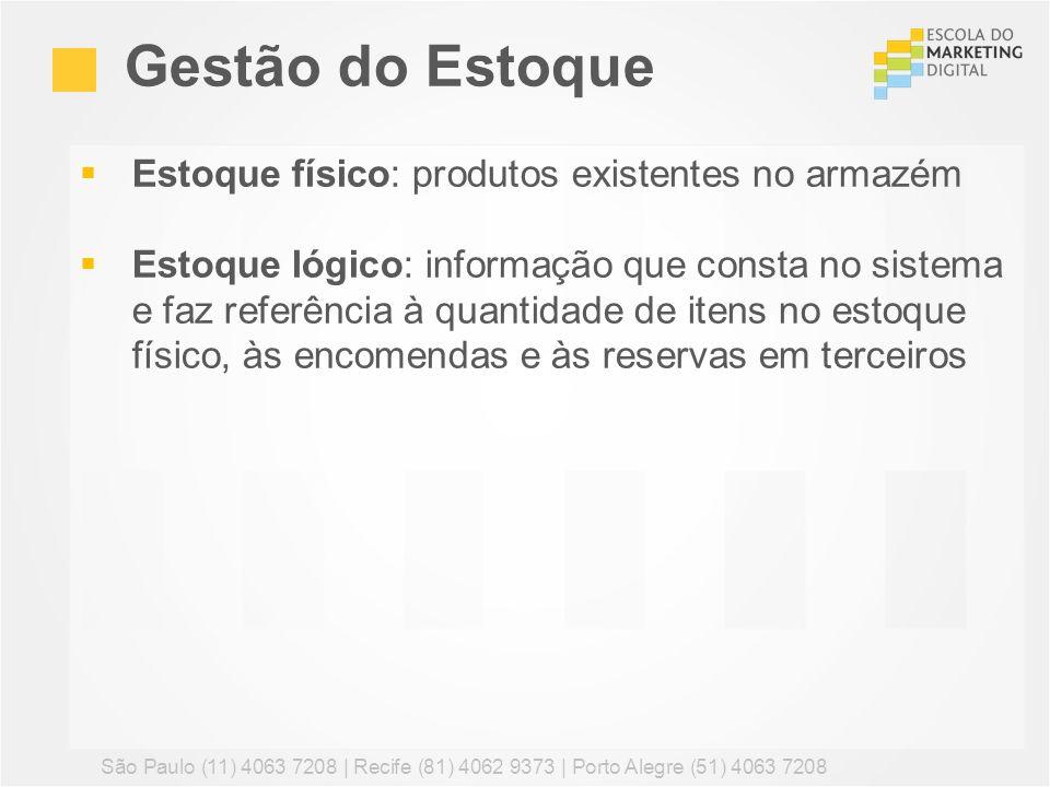 Estoque físico: produtos existentes no armazém Estoque lógico: informação que consta no sistema e faz referência à quantidade de itens no estoque físi