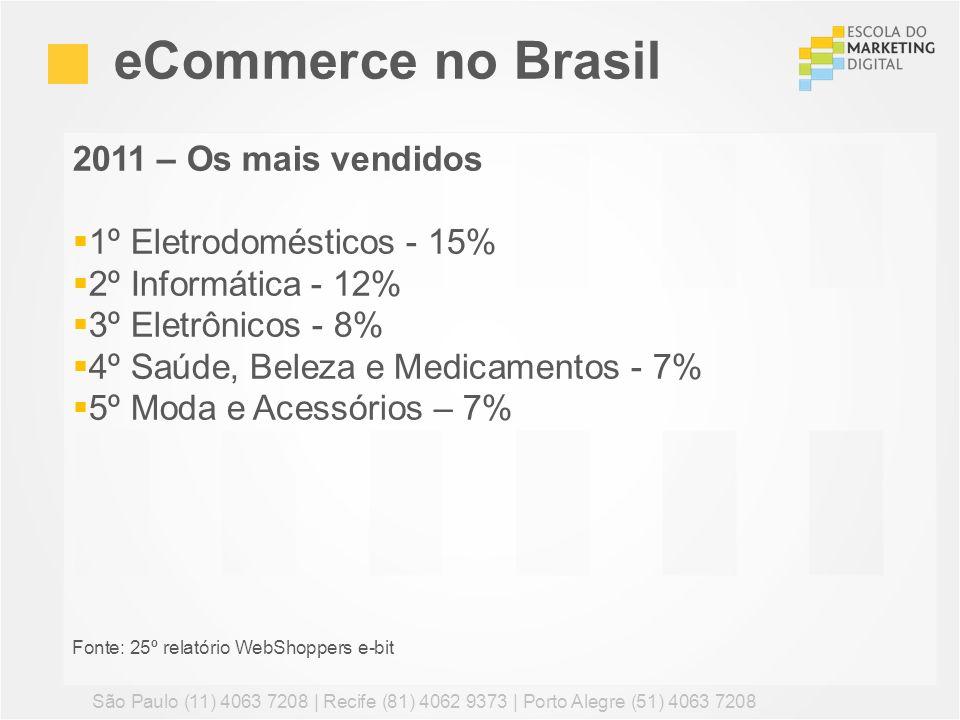2011 – Os mais vendidos 1º Eletrodomésticos - 15% 2º Informática - 12% 3º Eletrônicos - 8% 4º Saúde, Beleza e Medicamentos - 7% 5º Moda e Acessórios –