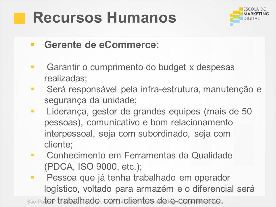 Recursos Humanos São Paulo (11) 4063 7208 | Recife (81) 4062 9373 | Porto Alegre (51) 4063 7208 Gerente de eCommerce: Garantir o cumprimento do budget