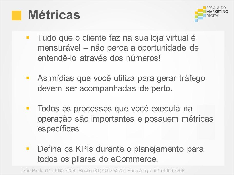 Métricas São Paulo (11) 4063 7208 | Recife (81) 4062 9373 | Porto Alegre (51) 4063 7208 Tudo que o cliente faz na sua loja virtual é mensurável – não