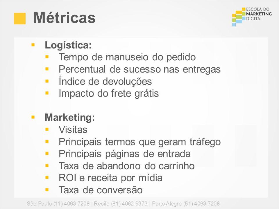 Métricas São Paulo (11) 4063 7208 | Recife (81) 4062 9373 | Porto Alegre (51) 4063 7208 Logística: Tempo de manuseio do pedido Percentual de sucesso n