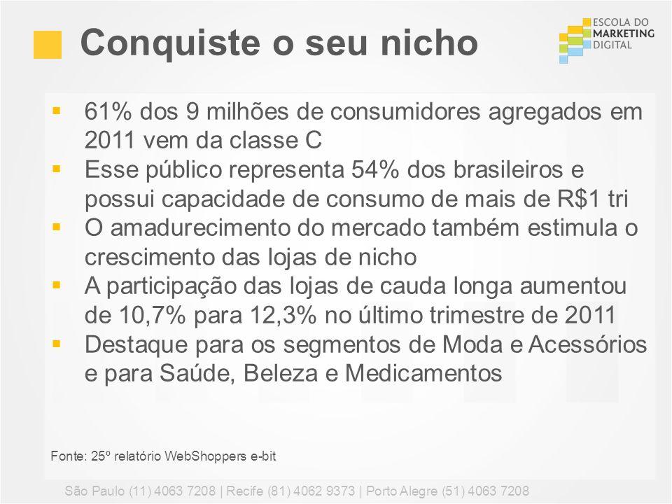 61% dos 9 milhões de consumidores agregados em 2011 vem da classe C Esse público representa 54% dos brasileiros e possui capacidade de consumo de mais