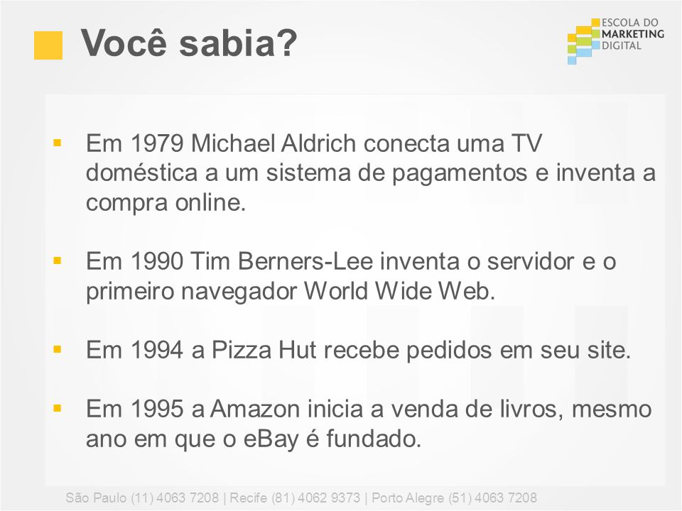 Em 1979 Michael Aldrich conecta uma TV doméstica a um sistema de pagamentos e inventa a compra online. Em 1990 Tim Berners-Lee inventa o servidor e o