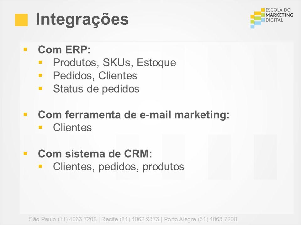 Com ERP: Produtos, SKUs, Estoque Pedidos, Clientes Status de pedidos Com ferramenta de e-mail marketing: Clientes Com sistema de CRM: Clientes, pedido