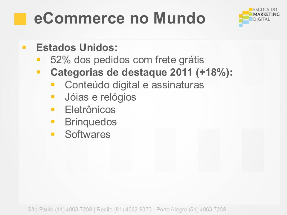 Estados Unidos: 52% dos pedidos com frete grátis Categorias de destaque 2011 (+18%): Conteúdo digital e assinaturas Jóias e relógios Eletrônicos Brinq