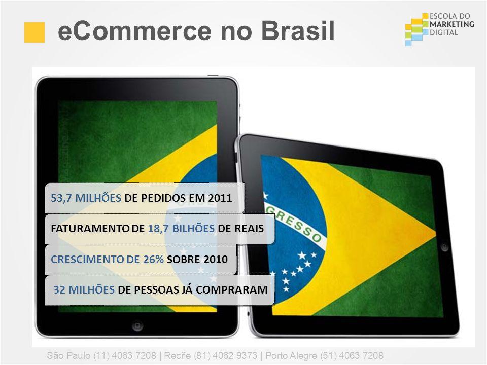 53,7 MILHÕES DE PEDIDOS EM 2011 eCommerce no Brasil São Paulo (11) 4063 7208 | Recife (81) 4062 9373 | Porto Alegre (51) 4063 7208 FATURAMENTO DE 18,7