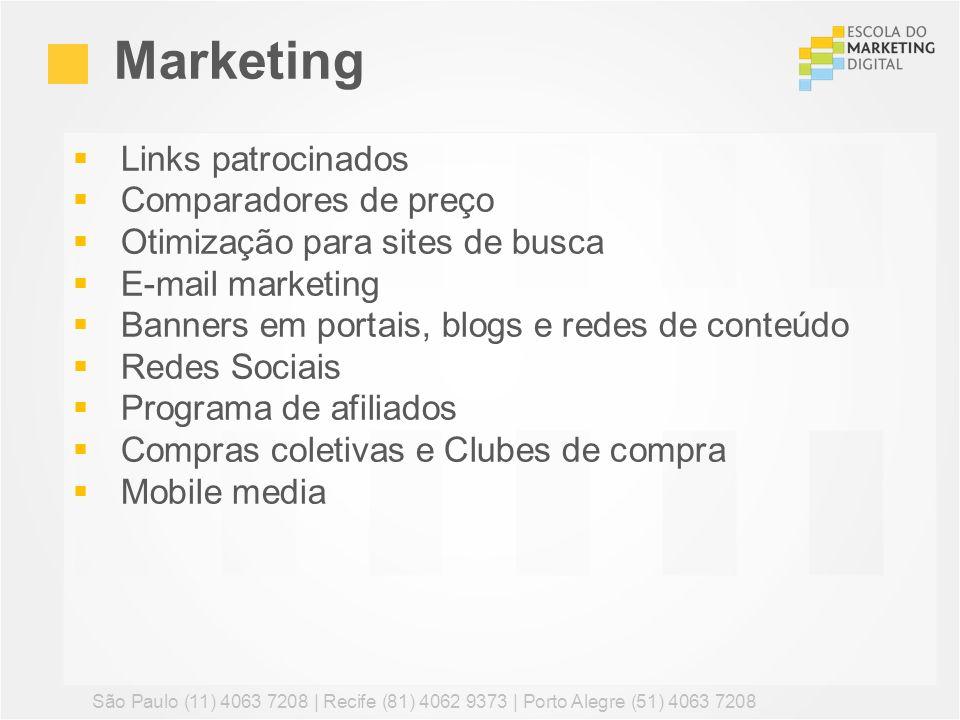 Links patrocinados Comparadores de preço Otimização para sites de busca E-mail marketing Banners em portais, blogs e redes de conteúdo Redes Sociais P