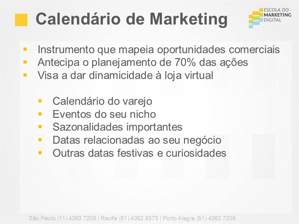 Instrumento que mapeia oportunidades comerciais Antecipa o planejamento de 70% das ações Visa a dar dinamicidade à loja virtual Calendário do varejo E