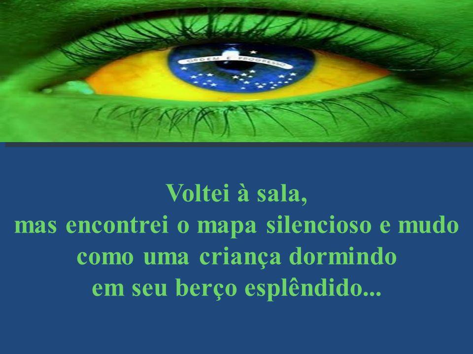 Era noite e pude ver a imagem do Cruzeiro que resplandece no lábaro que o nosso país ostenta estrelado. Pensei... Conseguiremos salvar esse país sem b