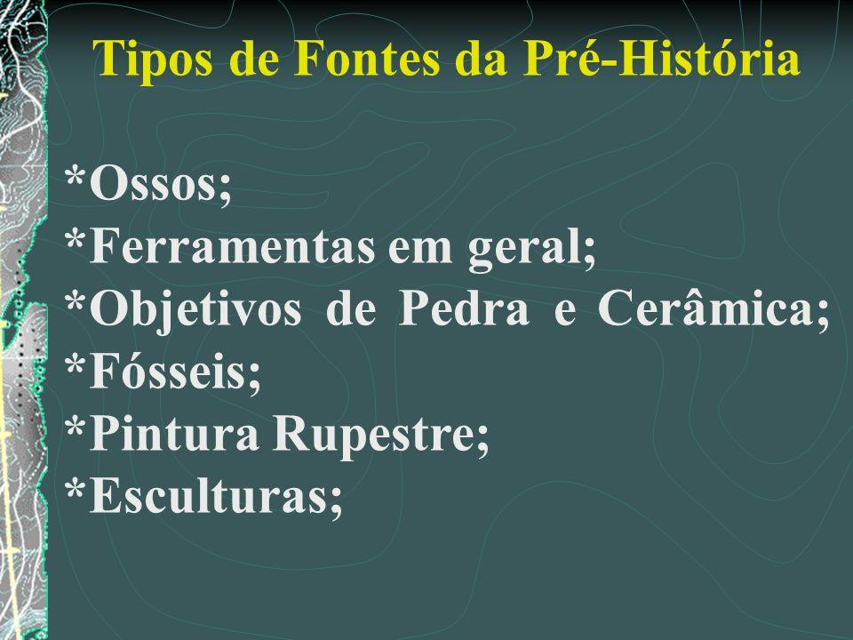 Tipos de Fontes da Pré-História *Ossos; *Ferramentas em geral; *Objetivos de Pedra e Cerâmica; *Fósseis; *Pintura Rupestre; *Esculturas;
