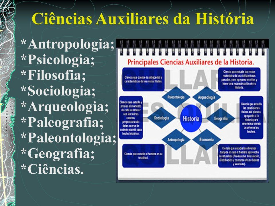 Ciências Auxiliares da História *Antropologia; *Psicologia; *Filosofia; *Sociologia; *Arqueologia; *Paleografia; *Paleontologia; *Geografia; *Ciências