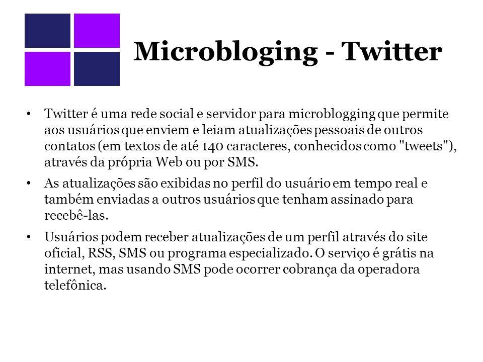 Microbloging - Twitter Twitter é uma rede social e servidor para microblogging que permite aos usuários que enviem e leiam atualizações pessoais de outros contatos (em textos de até 140 caracteres, conhecidos como tweets ), através da própria Web ou por SMS.