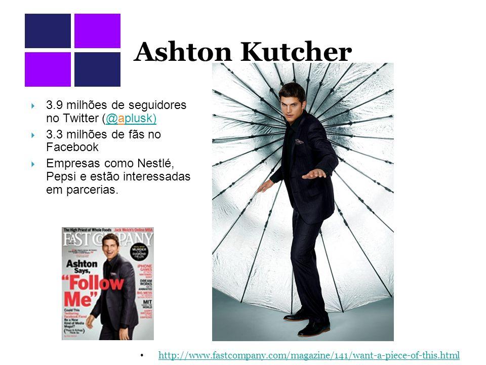 Ashton Kutcher http://www.fastcompany.com/magazine/141/want-a-piece-of-this.html 3.9 milhões de seguidores no Twitter (@aplusk)@plusk) 3.3 milhões de fãs no Facebook Empresas como Nestlé, Pepsi e estão interessadas em parcerias.