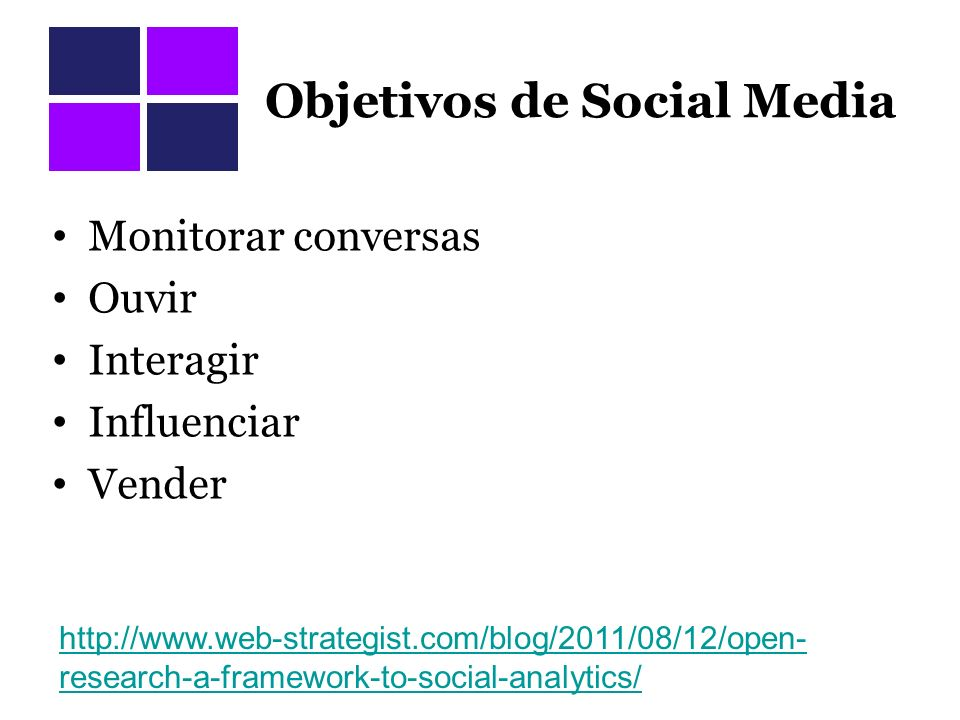 Objetivos de Social Media Monitorar conversas Ouvir Interagir Influenciar Vender http://www.web-strategist.com/blog/2011/08/12/open- research-a-framework-to-social-analytics/