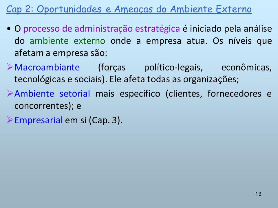 13 Cap 2: Oportunidades e Ameaças do Ambiente Externo O processo de administração estratégica é iniciado pela análise do ambiente externo onde a empre