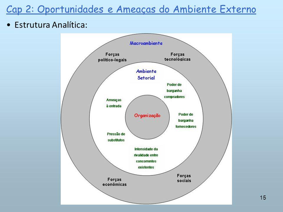 15 Cap 2: Oportunidades e Ameaças do Ambiente Externo Estrutura Analítica: