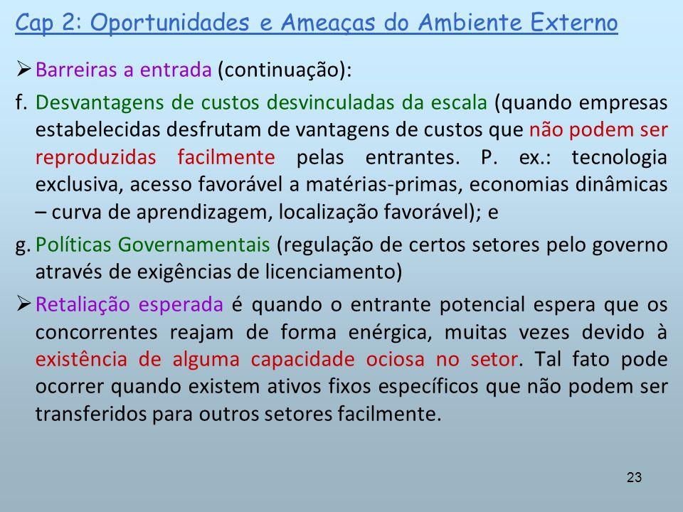 23 Cap 2: Oportunidades e Ameaças do Ambiente Externo Barreiras a entrada (continuação): f.Desvantagens de custos desvinculadas da escala (quando empr