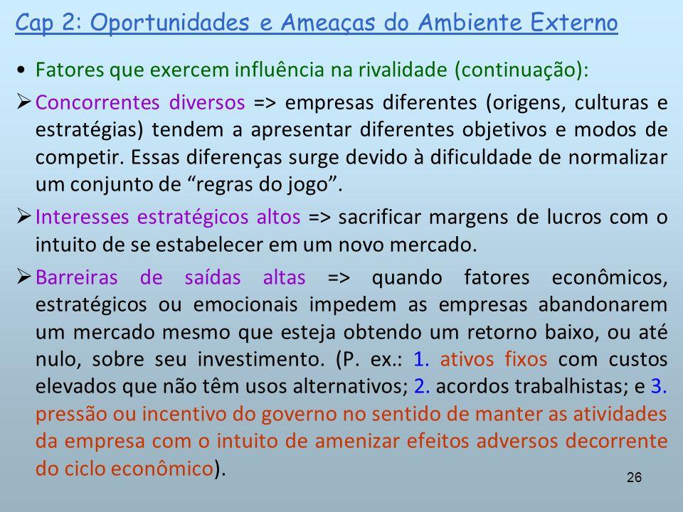 26 Cap 2: Oportunidades e Ameaças do Ambiente Externo Fatores que exercem influência na rivalidade (continuação): Concorrentes diversos => empresas di