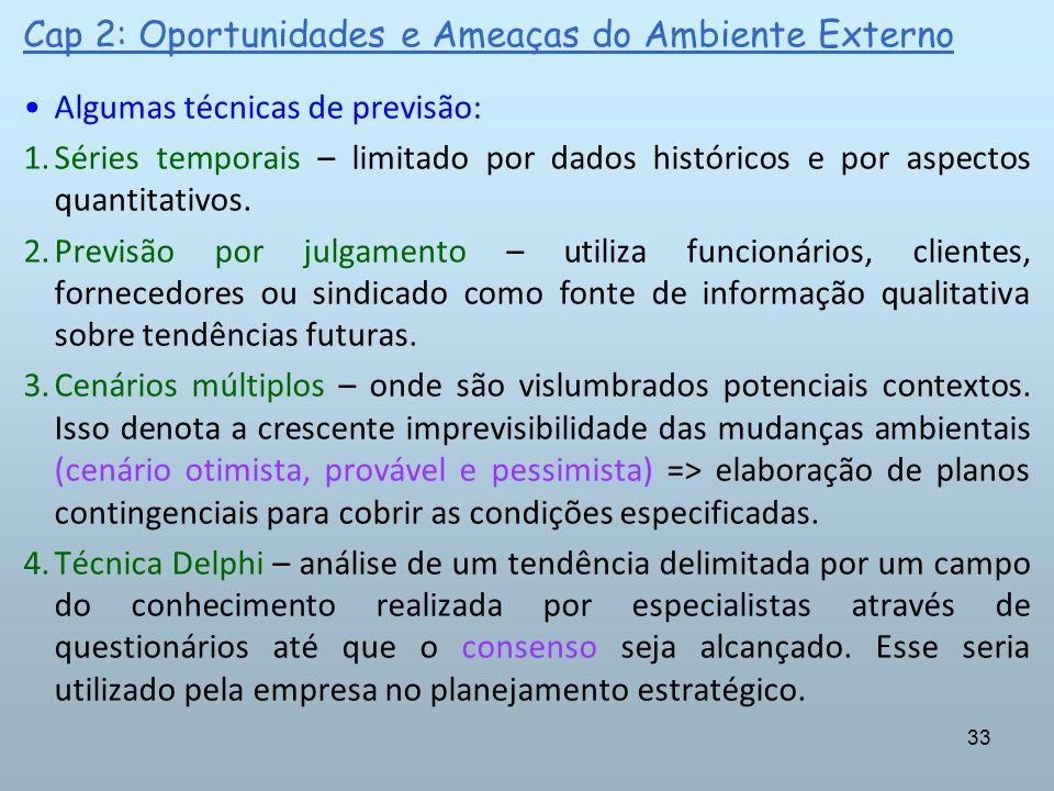 33 Cap 2: Oportunidades e Ameaças do Ambiente Externo Algumas técnicas de previsão: 1.Séries temporais – limitado por dados históricos e por aspectos