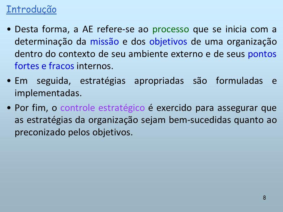 8 Desta forma, a AE refere-se ao processo que se inicia com a determinação da missão e dos objetivos de uma organização dentro do contexto de seu ambi