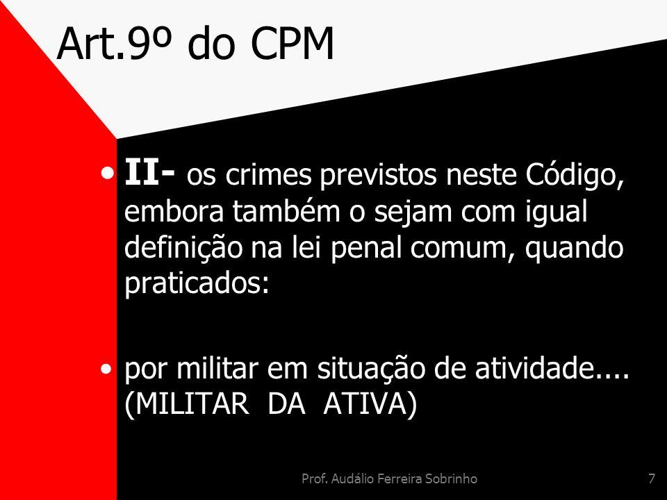Prof. Audálio Ferreira Sobrinho7 Art.9º do CPM II- os crimes previstos neste Código, embora também o sejam com igual definição na lei penal comum, qua
