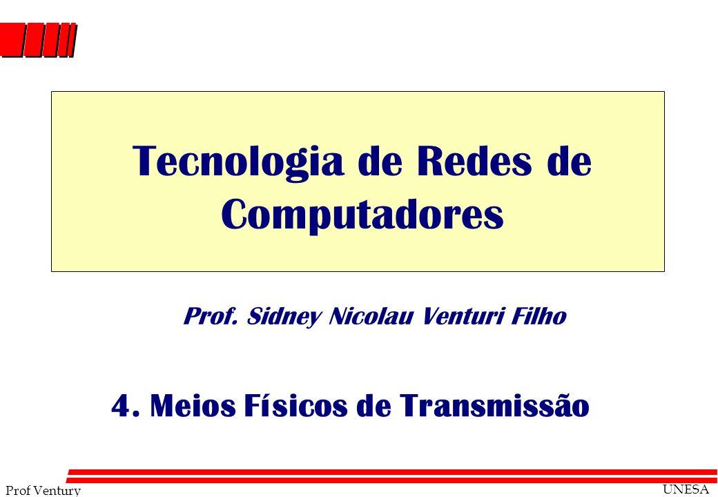 Prof Ventury UNESA Prof. Sidney Nicolau Venturi Filho 4. Meios Físicos de Transmissão Tecnologia de Redes de Computadores
