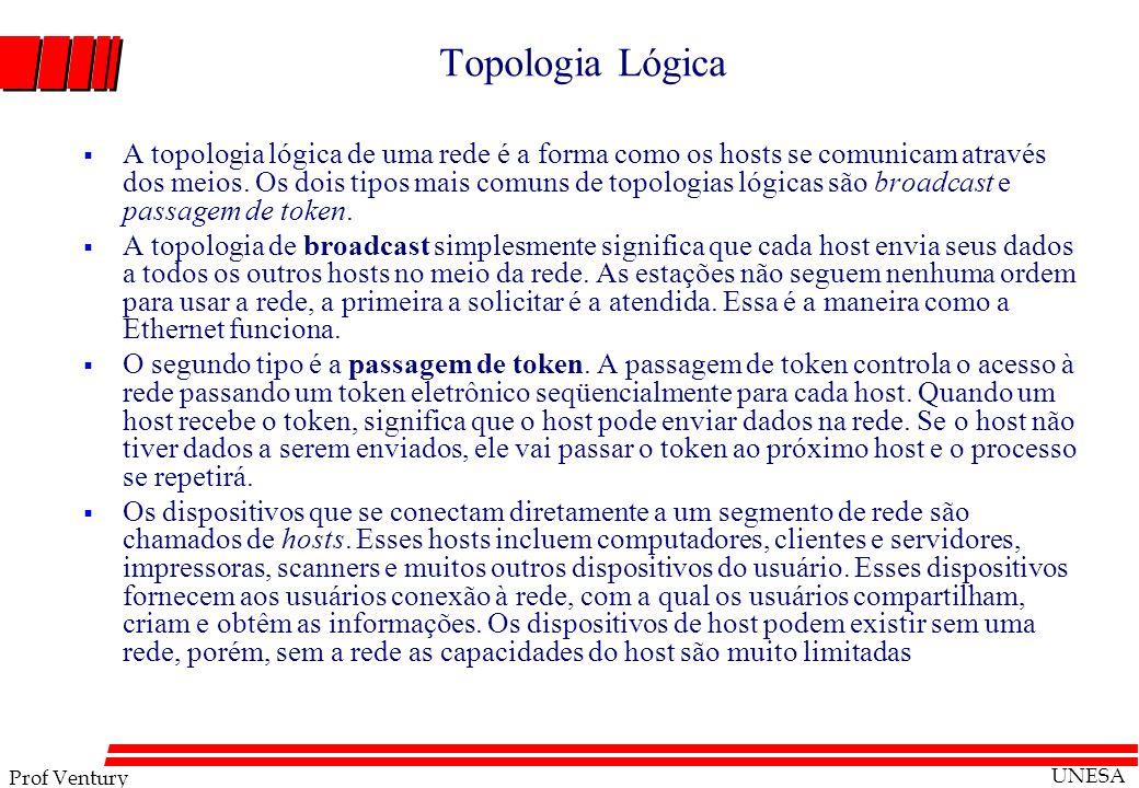Prof Ventury UNESA Topologia Lógica A topologia lógica de uma rede é a forma como os hosts se comunicam através dos meios. Os dois tipos mais comuns d