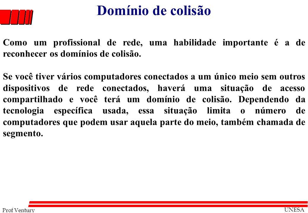 Prof Ventury UNESA Domínio de colisão Como um profissional de rede, uma habilidade importante é a de reconhecer os domínios de colisão. Se você tiver
