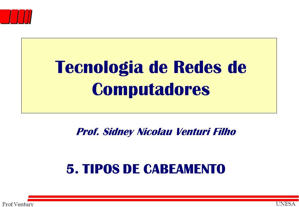 Prof Ventury UNESA Prof. Sidney Nicolau Venturi Filho 5. TIPOS DE CABEAMENTO Tecnologia de Redes de Computadores