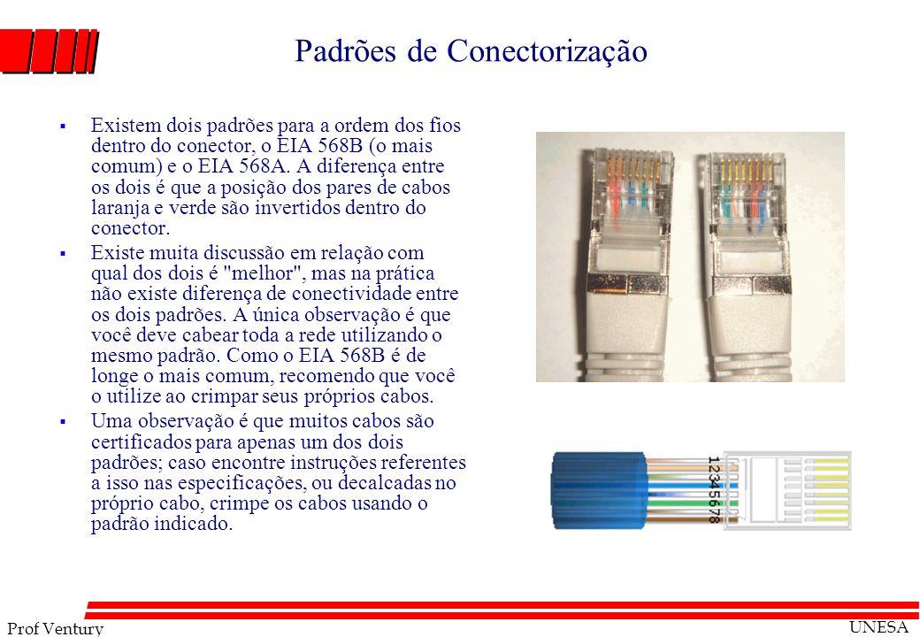 Prof Ventury UNESA Padrões de Conectorização Existem dois padrões para a ordem dos fios dentro do conector, o EIA 568B (o mais comum) e o EIA 568A. A