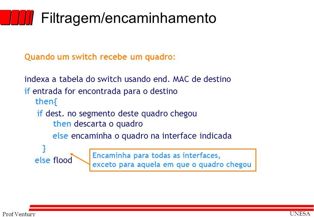 Prof Ventury UNESA 5 - 61 Quando um switch recebe um quadro: indexa a tabela do switch usando end. MAC de destino if entrada for encontrada para o des